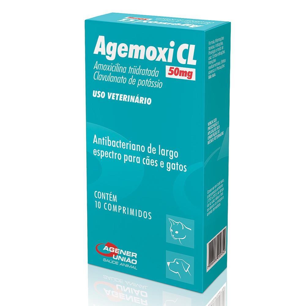 Antibiótico para cães e gatos Agemoxi CL 50mg 10 comprimidos