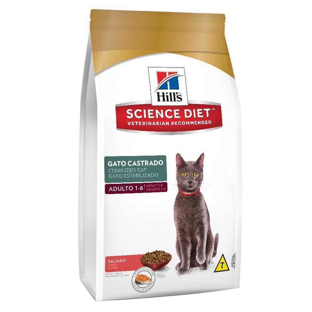 Ração para gatos castrados Science diet sabor salmão 1.5kg