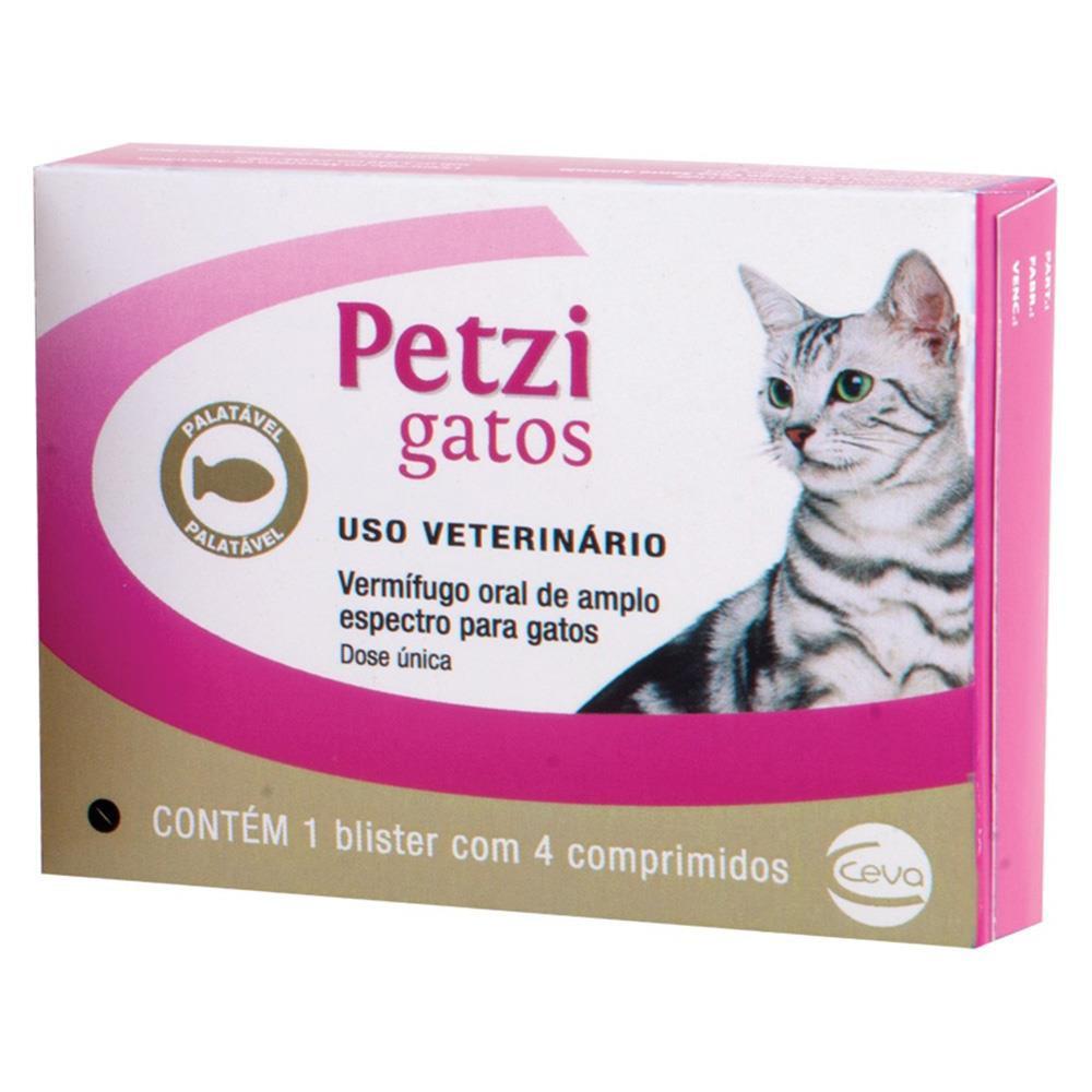 Vermífugo Petzi gatos até 4kg 4 comprimidos