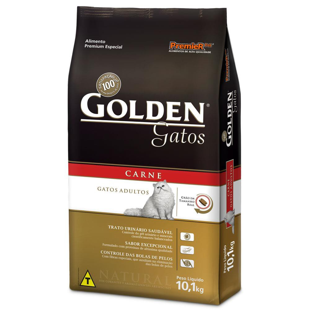 Ração GoldeN carne para gatos adultos 10,1kg