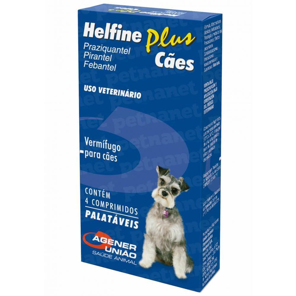 Vermífugo helfine plus para cães 4 comprimidos