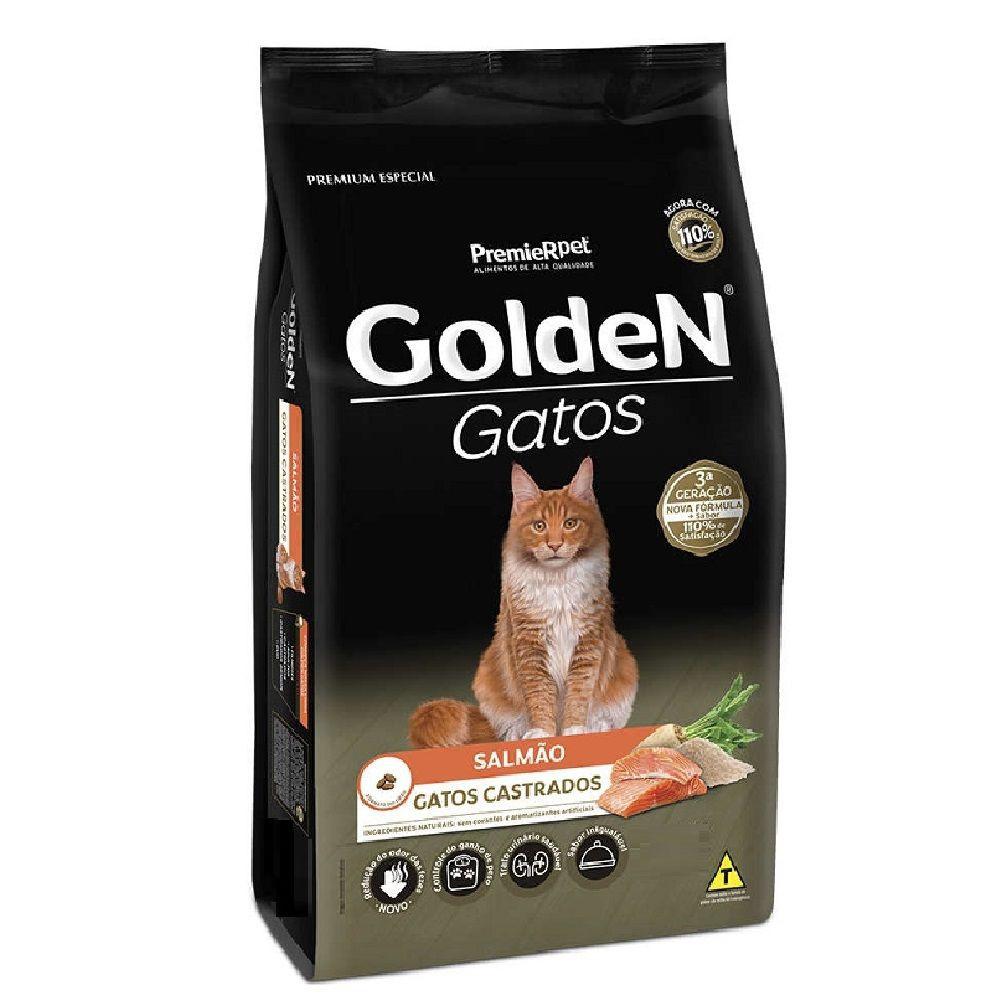 Ração para gatos adultos castrados sabor salmão GoldeN 3kg