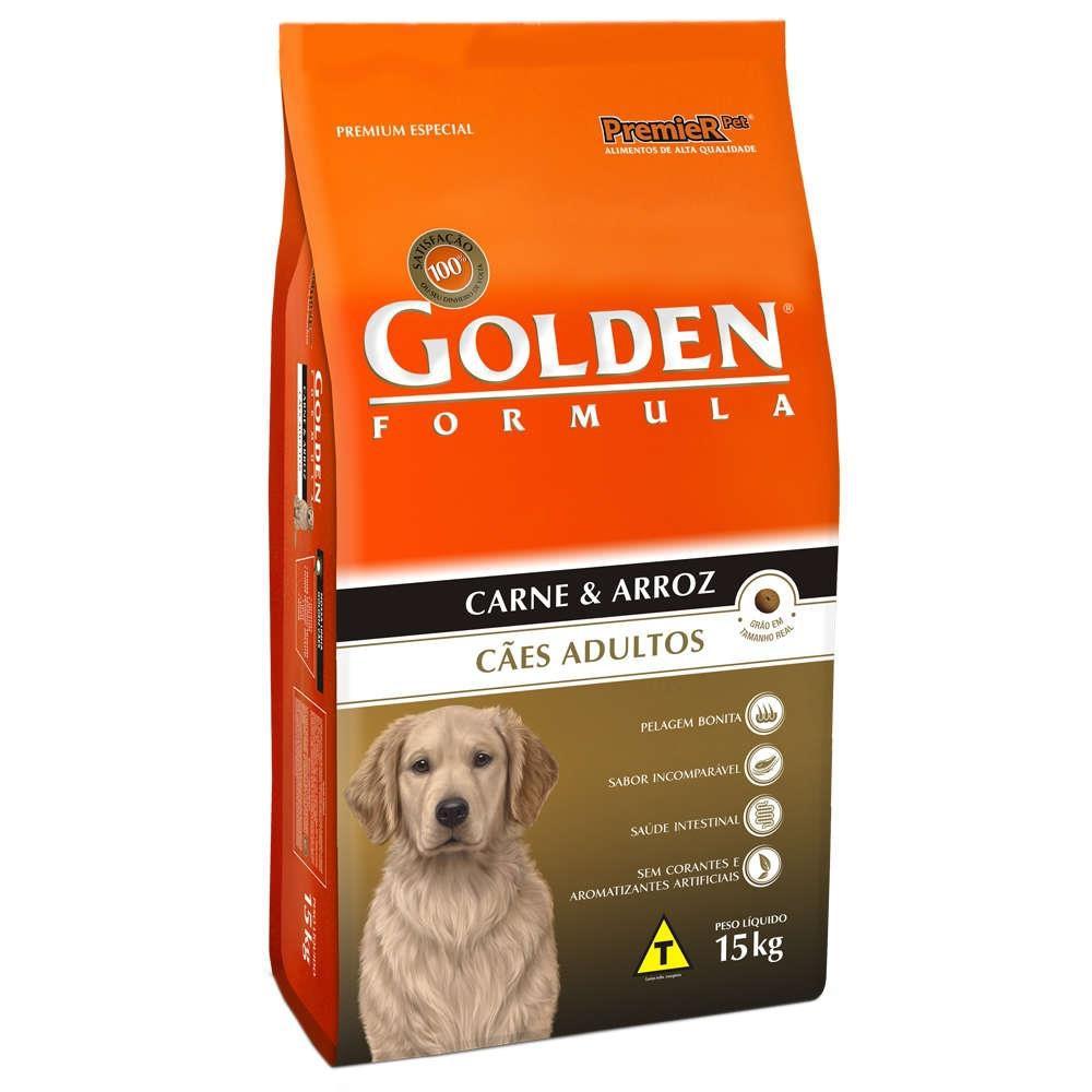 Ração para cães adultos formula carne & arroz Golden 15,kg