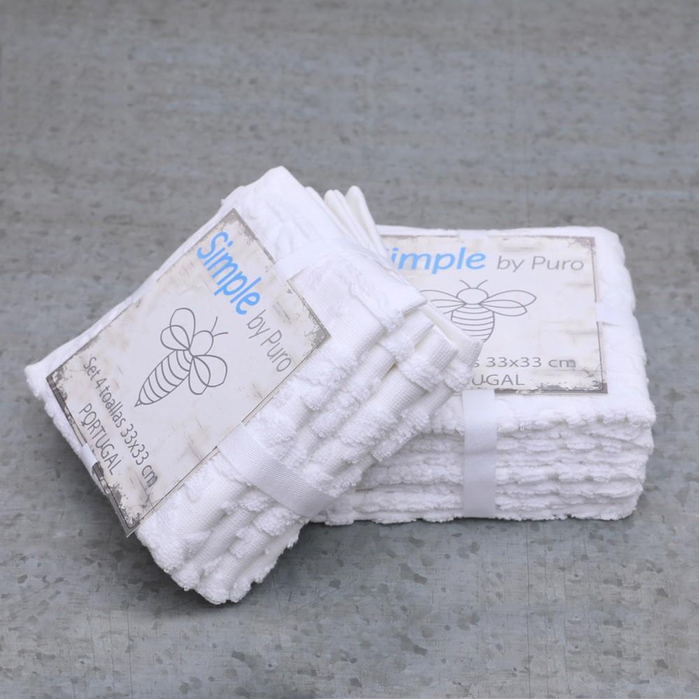 Set 4 toallas 33 * 33 portugal 100% algodón unidad