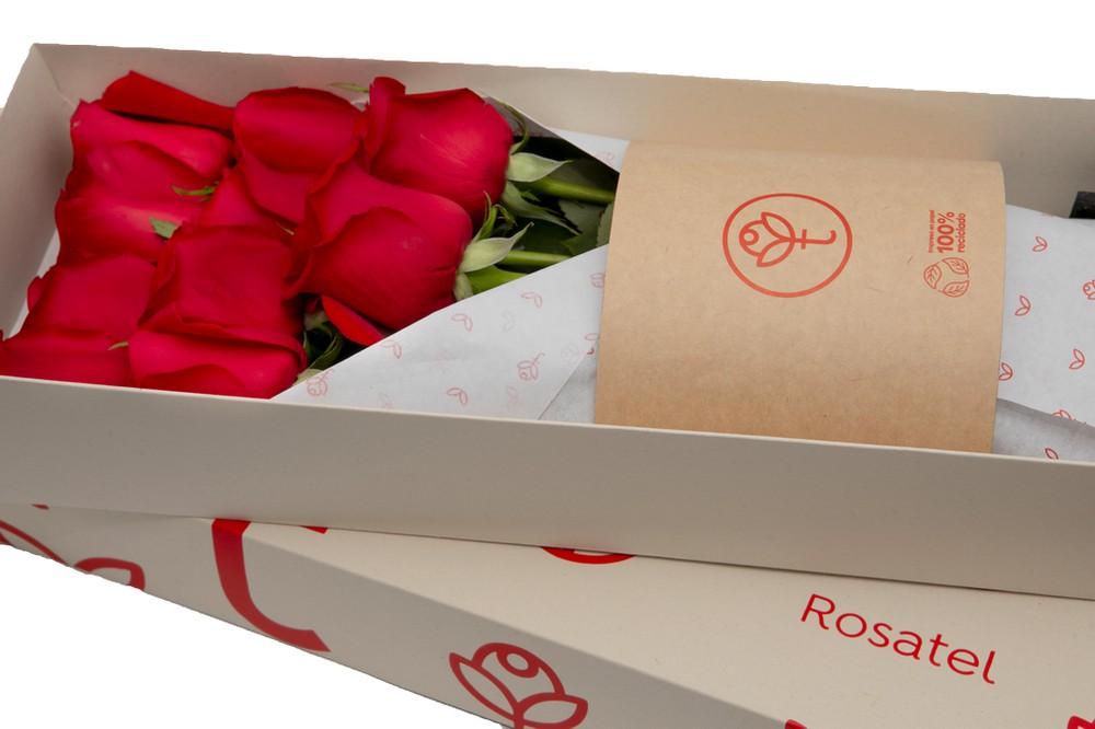 Caja 3r natural 12 rosas