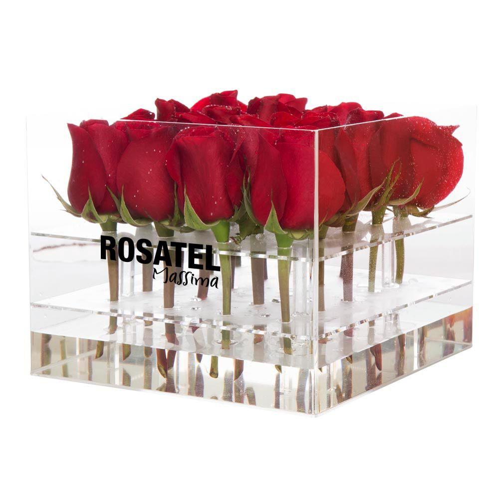 Caja acrilica cuadrada 20 rosas