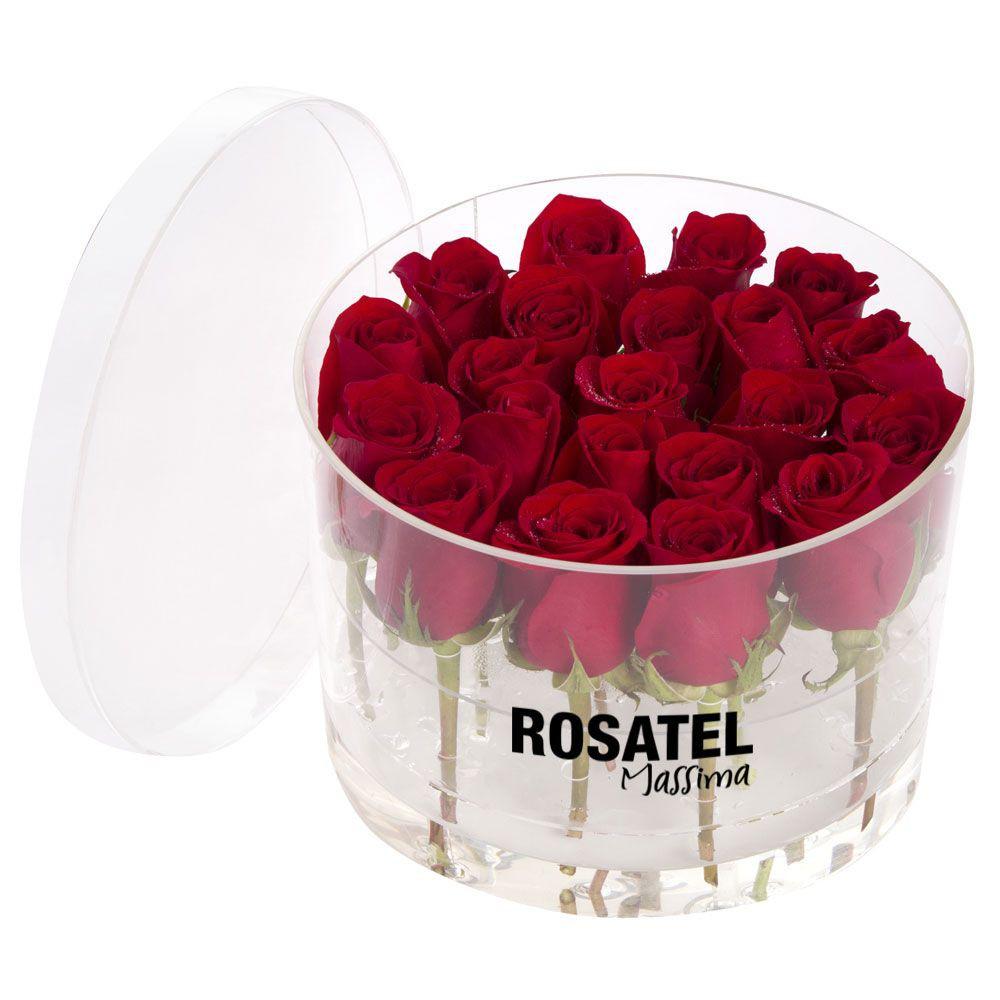 Caja  acrilica redonda 21 rosas