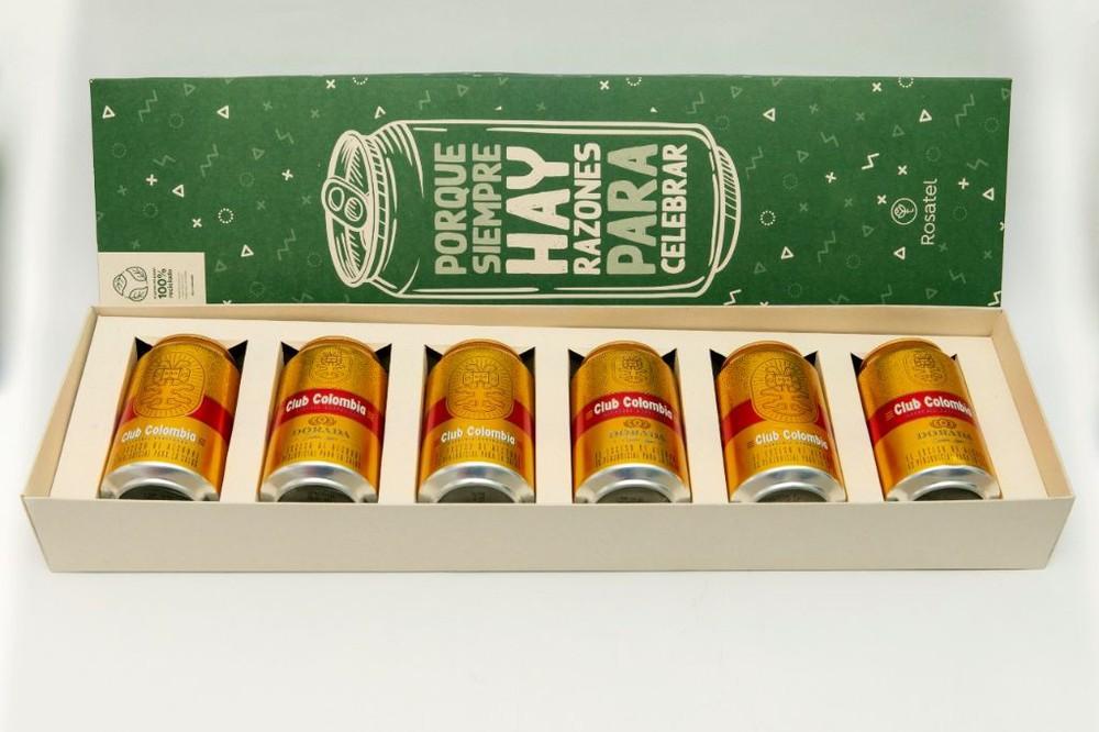 Caja cervecera con club colombia dorada 6 latas x 330 ml
