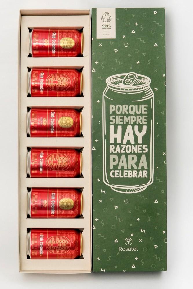 Caja cervecera con club colombia roja 6 latas x 330 ml