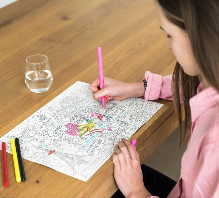 """Individuales para colorear """"city map"""" 40 x 30 cm"""