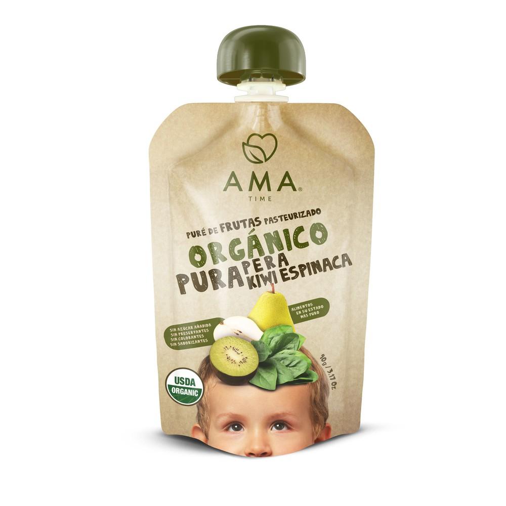 Puré pera kiwi espinaca orgánico Pouch 90 g