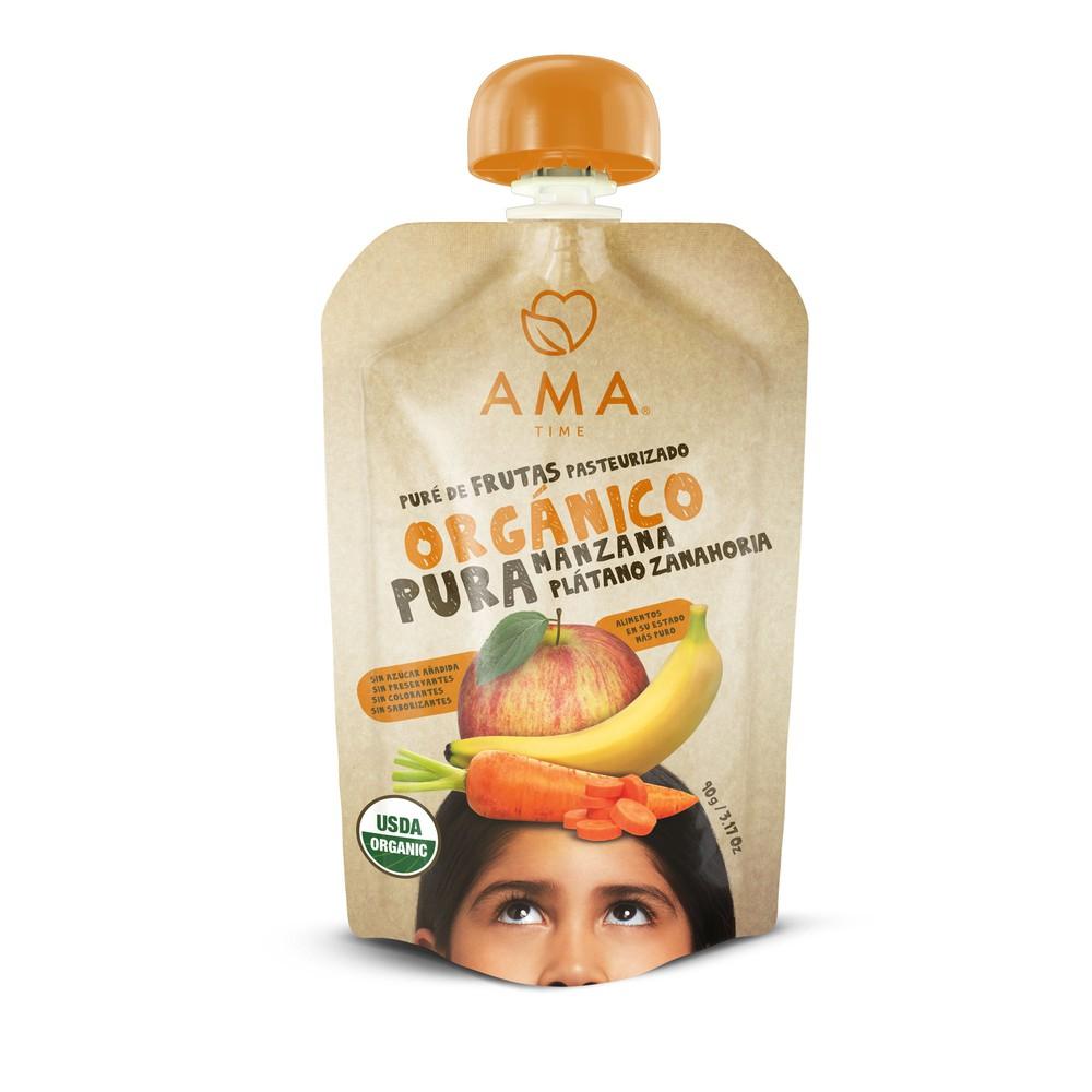 Puré manzana plátano zanahoria orgánico Pouch 90 g