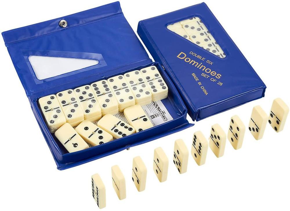 Set de dominó 28 piezas caja azul