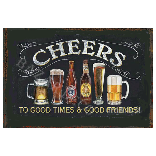 "Afiche ""cheers"" PAQUETE, medida: 20x30 cm"