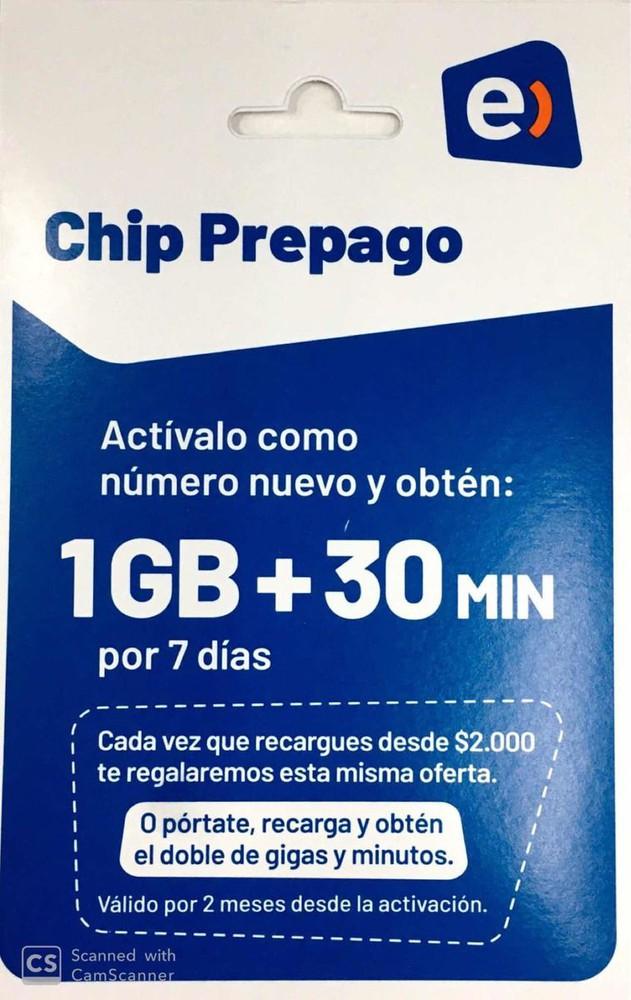 Chip entel prepago  1gb+ 30 min