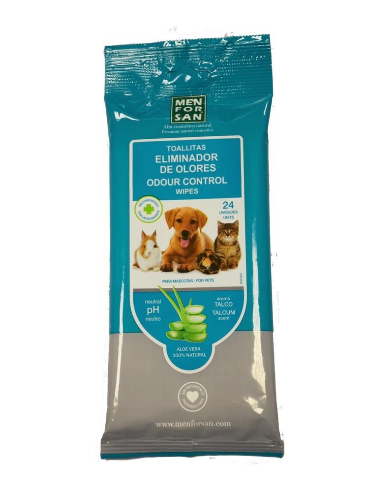 Toallitas eliminador de olores aloe vera para perro, gato,conejos, cuyes, etc