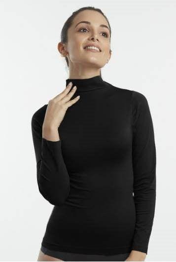 Camiseta 4045 talla única cuello subido negra