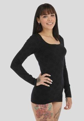 Camiseta 4051 talla única cuello cuadrado negra