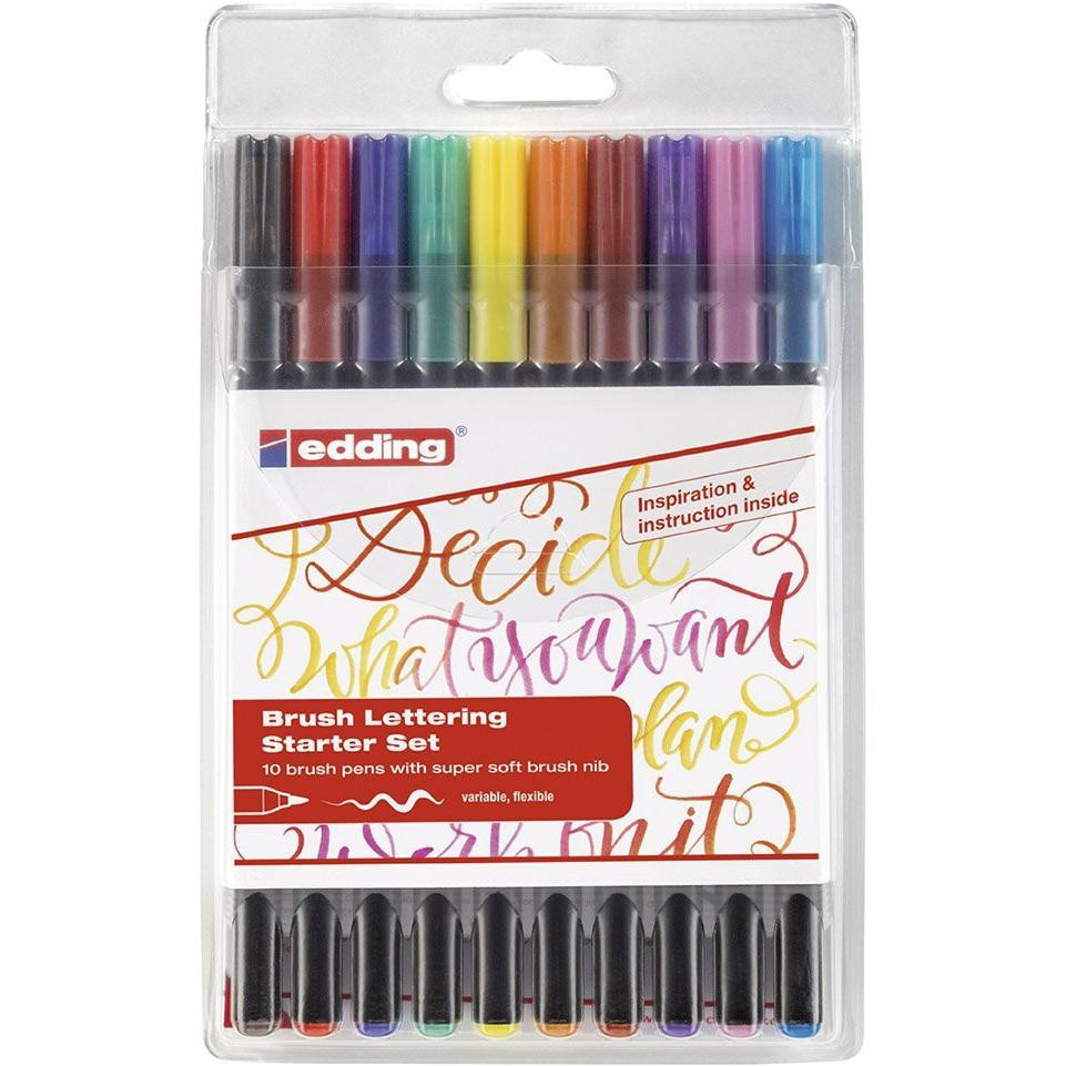 Set lápiz punta pincel 10 colores