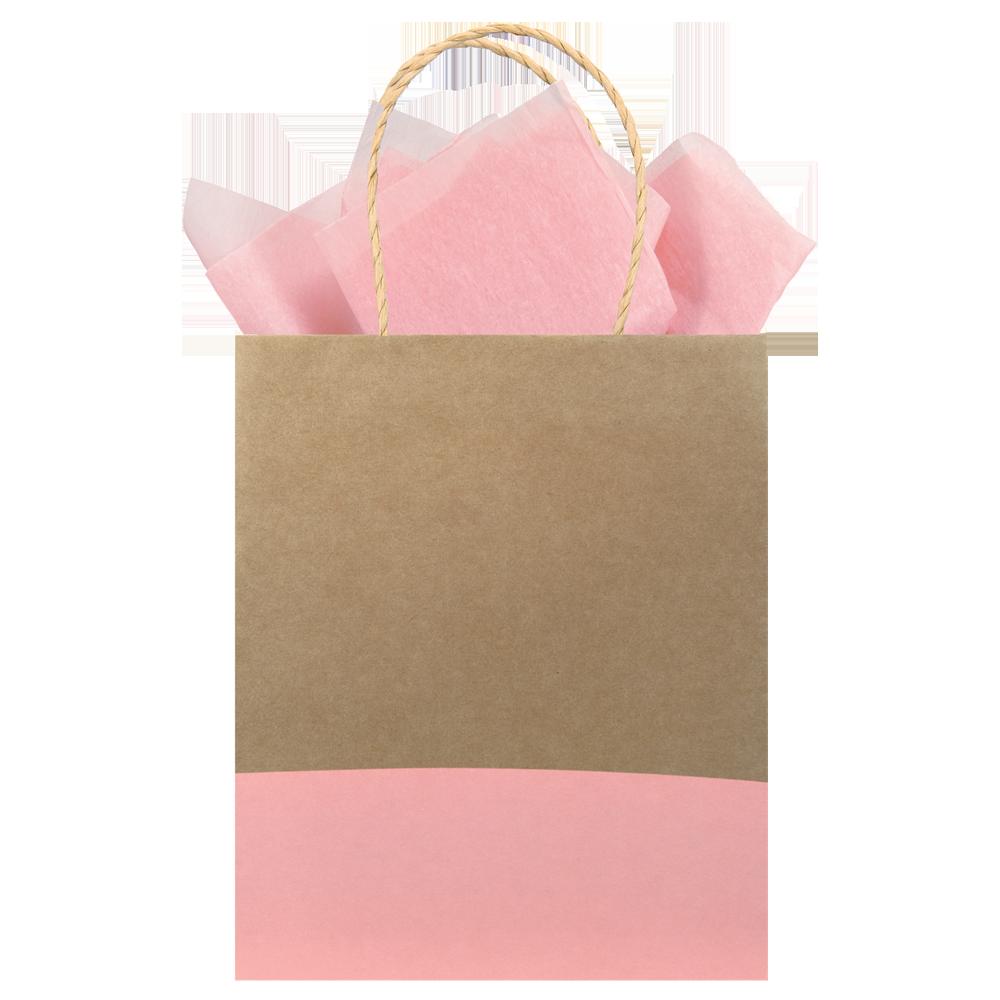 Bolsa regalo mediana kraft café con rosa pastel