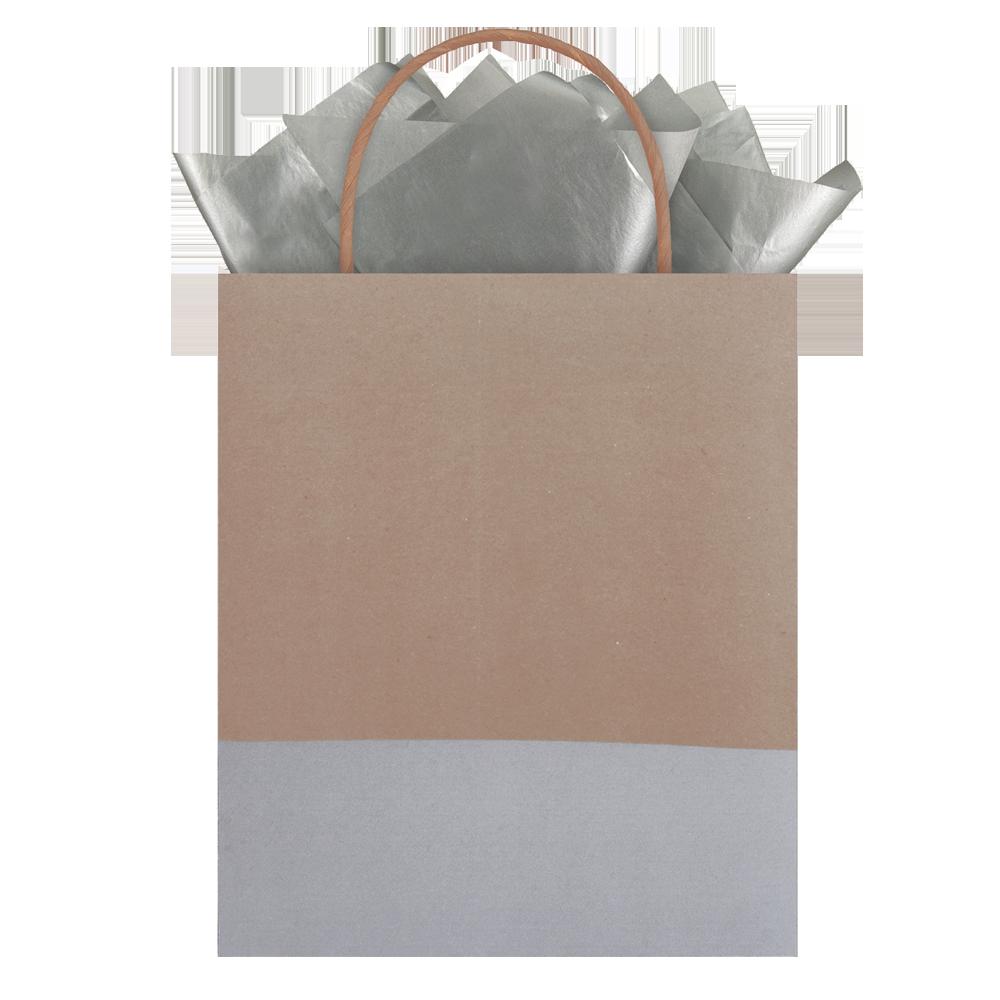 Bolsa regalo mediana kraft café con gris