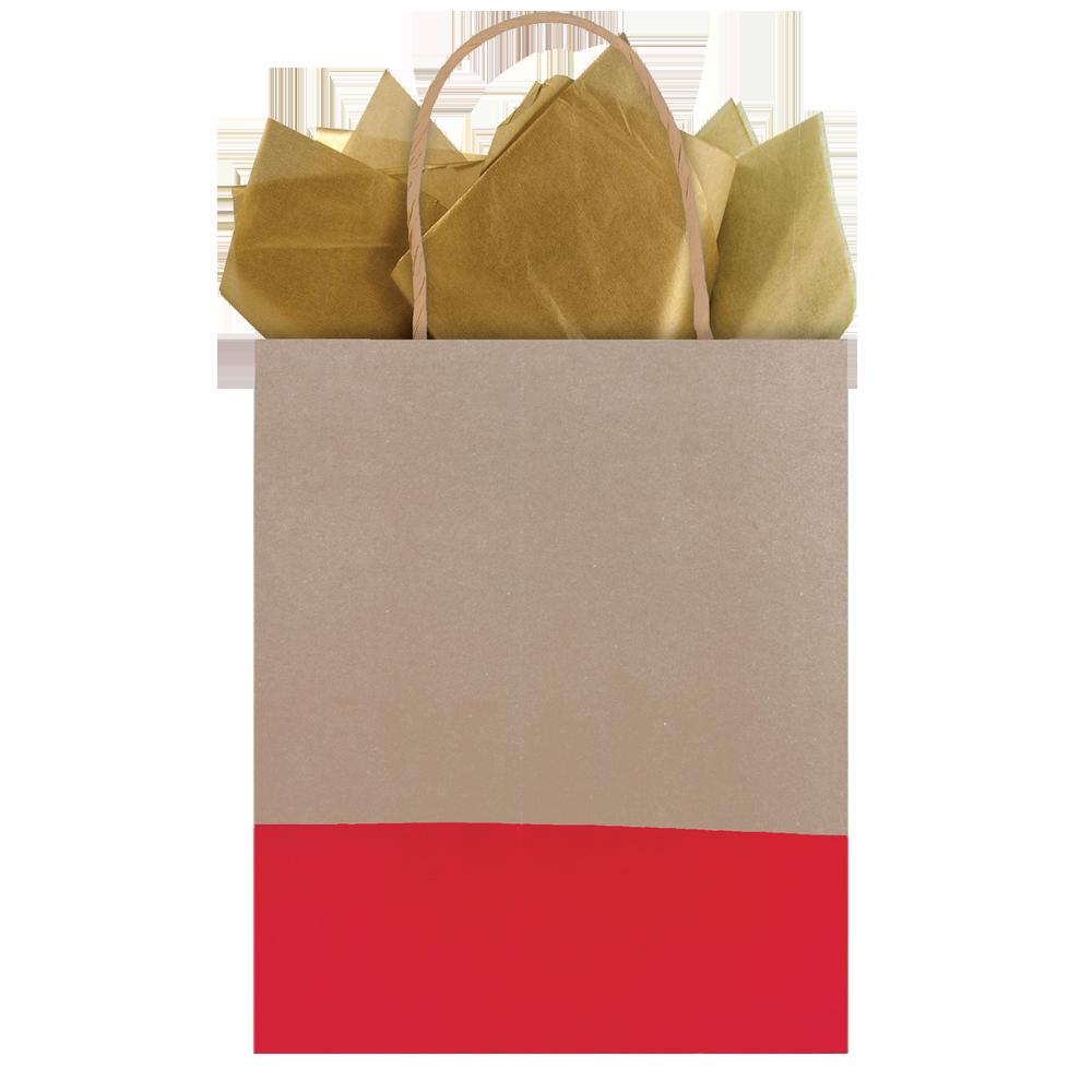 Bolsa regalo mediana kraft café con rojo
