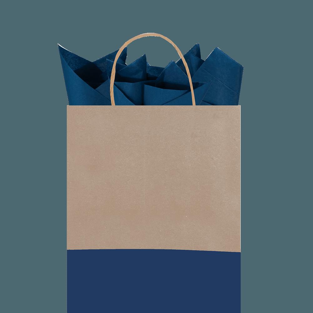 Bolsa regalo mediana kraft café con azul