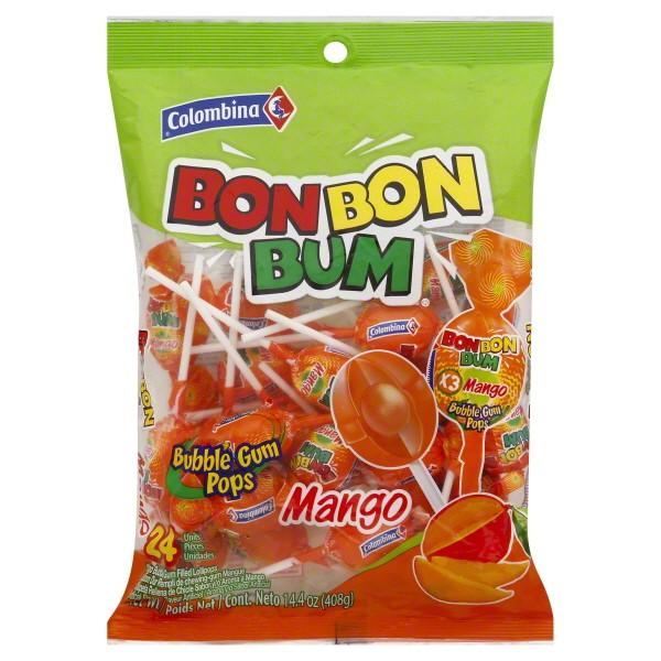 Bon Bon Bum Mango Bubble Gum Pops 24 ct