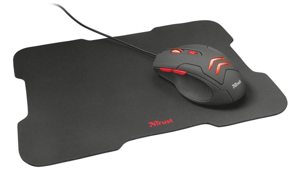 Combo 2 en 1 gamer trust ziva mouse + padmouse Superficie de 220 mm x 300 mm