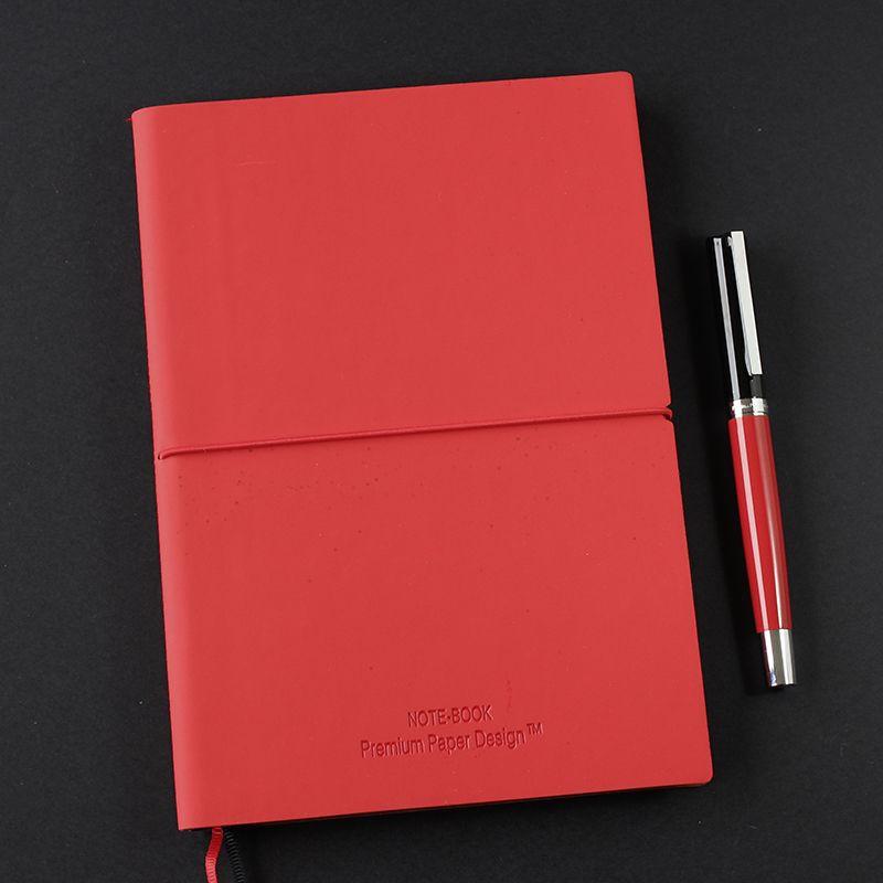 Libreta ecocuero soft touch bicolor cosida grande rojo-negro blanco