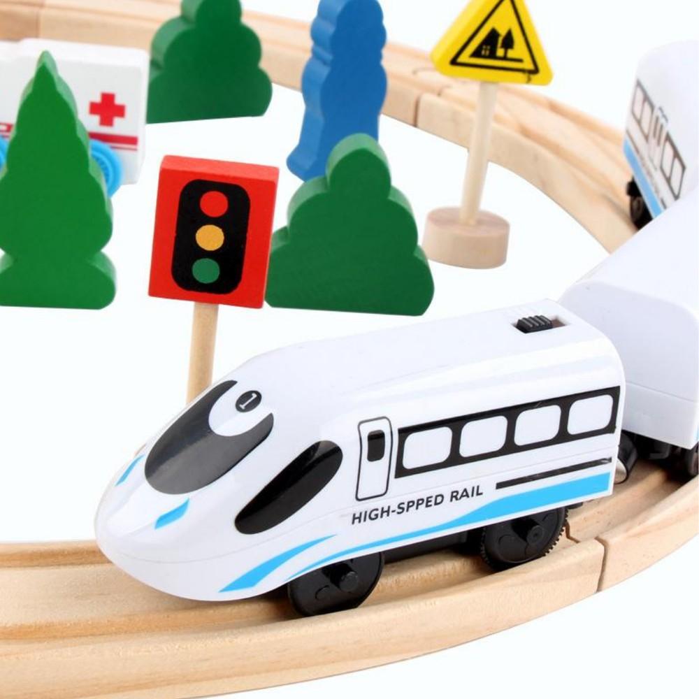 Tren Eléctrico con Pista madera Set tren eléctrico