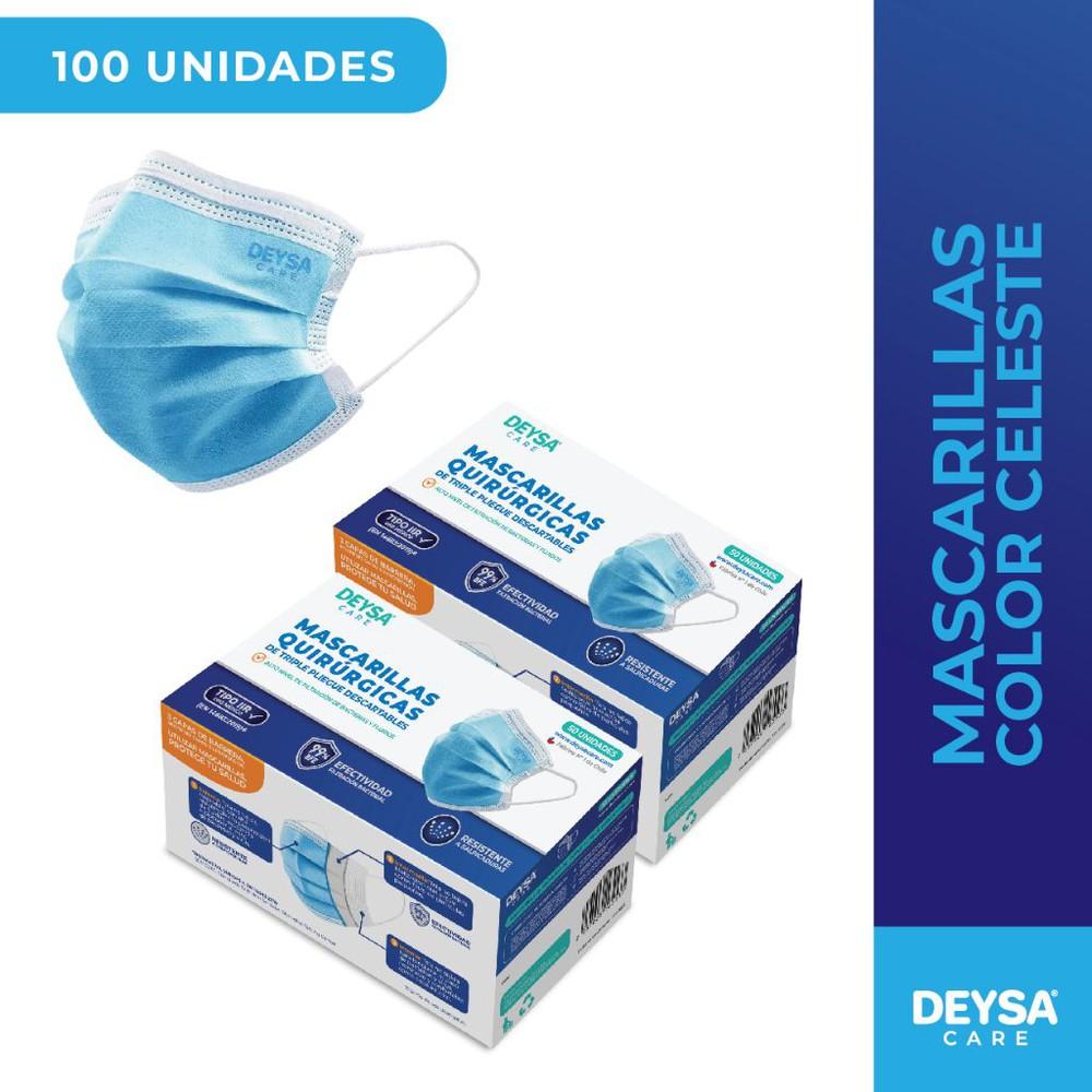 Mascarillas Desechables 50 Un 2 Cajas (100 Un) Color Celeste 2 Cajas de 50 unidades c/u (100 un)