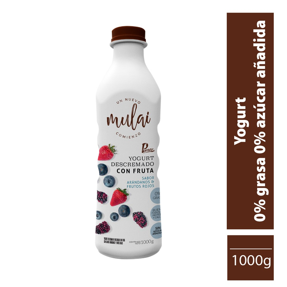 Yogur cero grasa cero azúcar arándanos frutos rojos 1 L