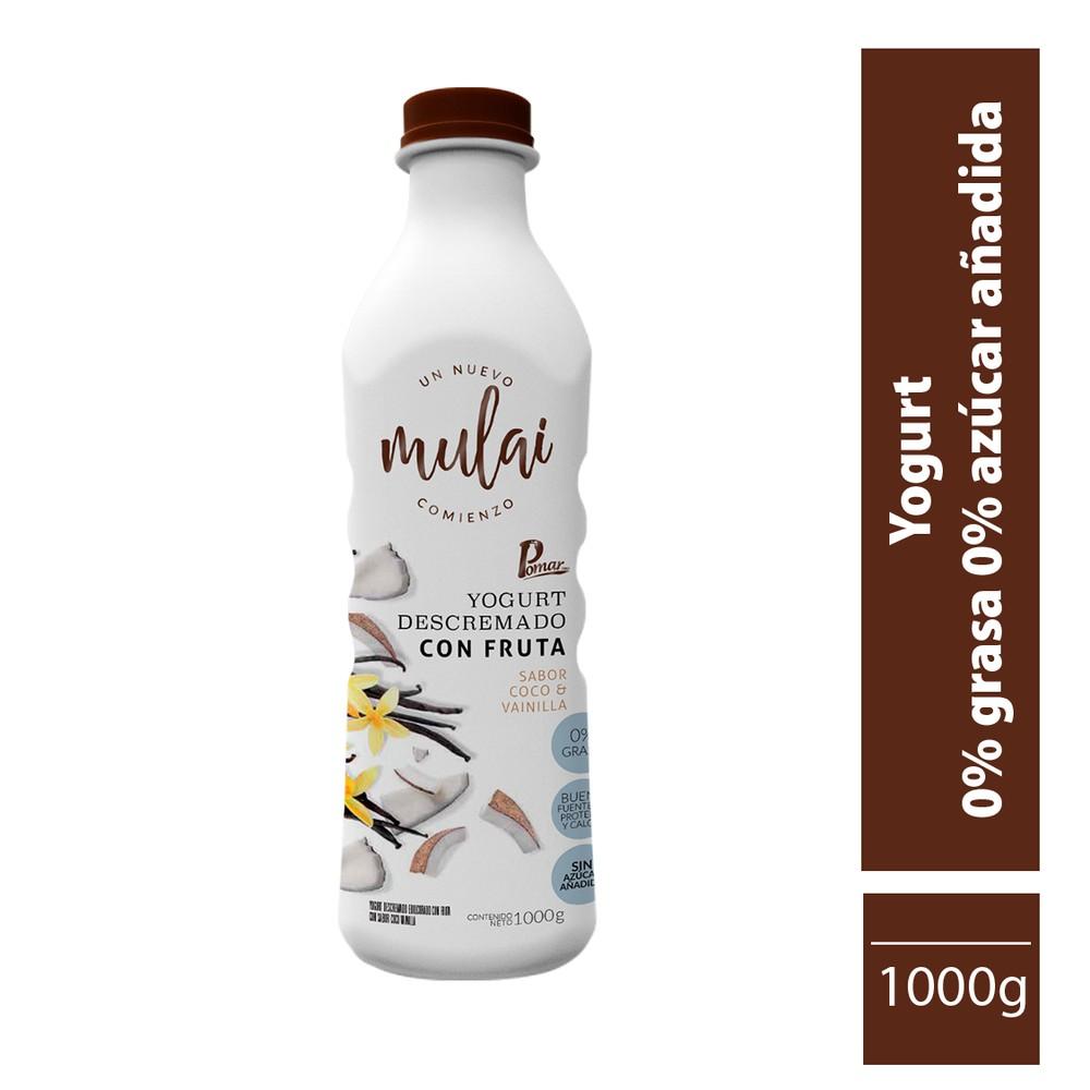 Yogurt descreamdo con fruta sabor coco y vainilla 1000 g