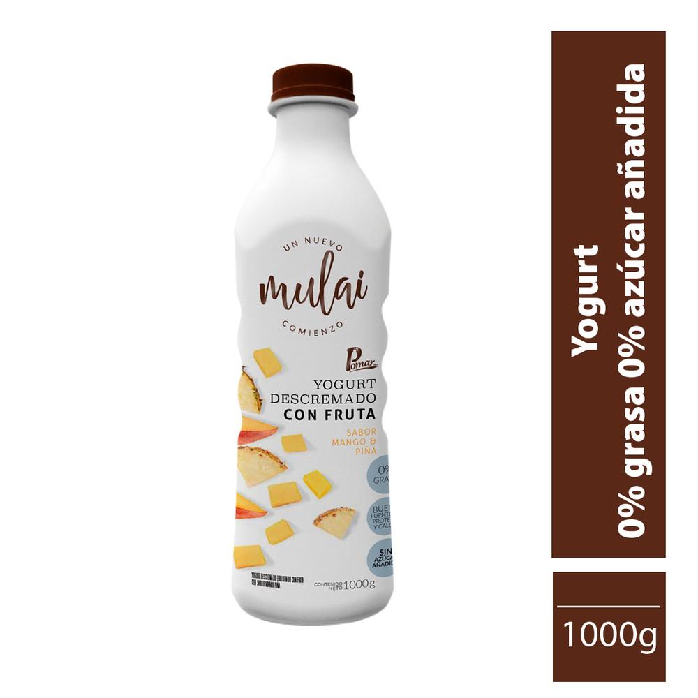 Yogur cero grasa y cero azúcar  sabor a mango y piña 1000 gr