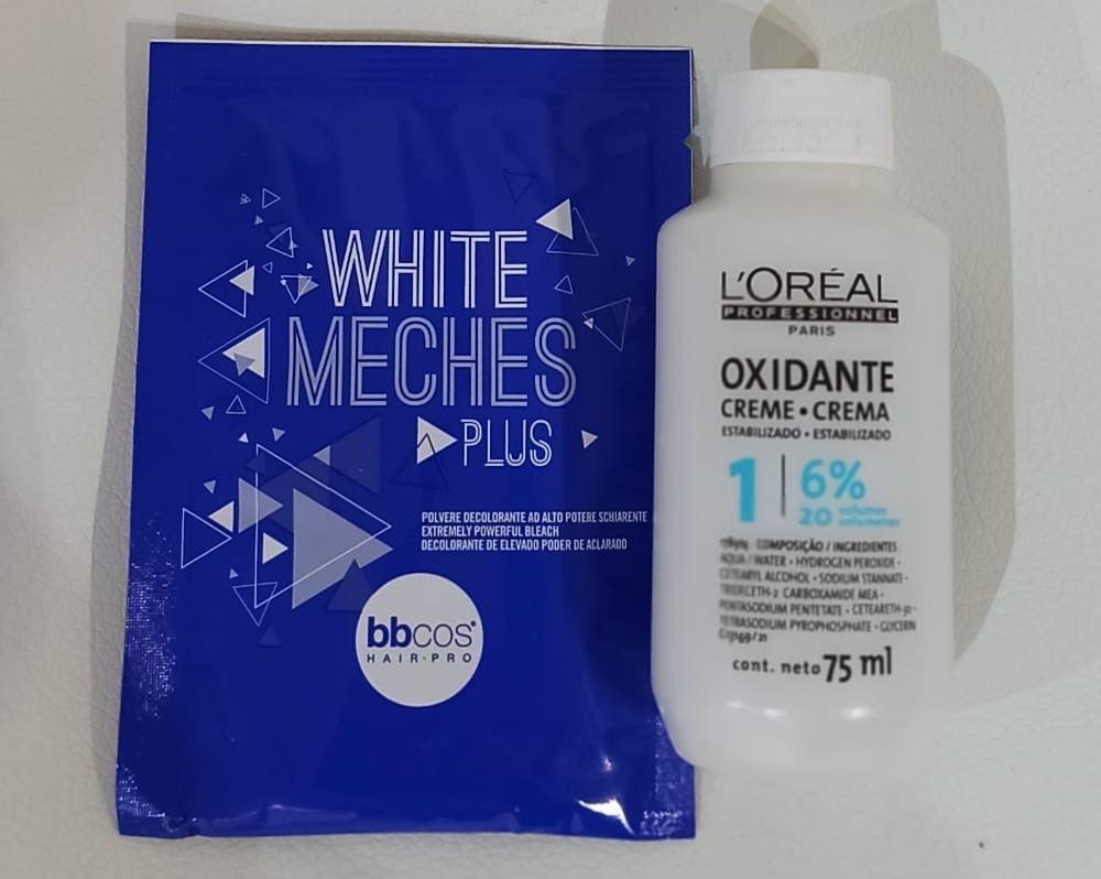 Decolorante White meches plus + Agua oxigenada de 20 ml