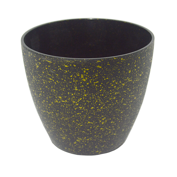 Matera plástica imitación piedra negro con dorado grande 16,5cm *14cm