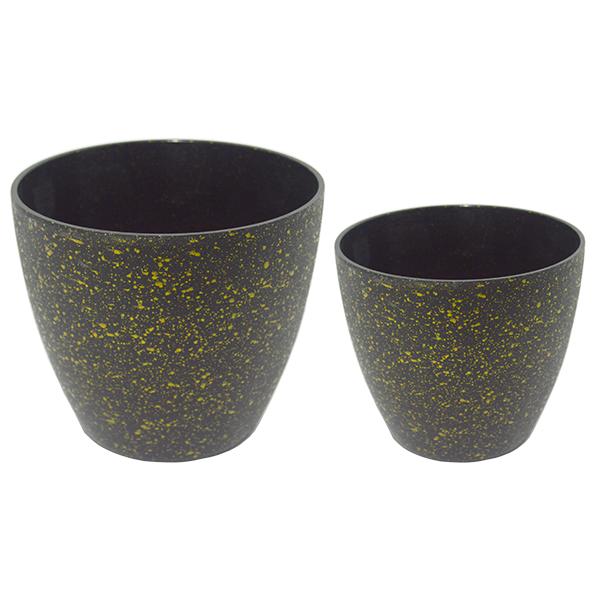 Matera plástica imitación piedra negro con dorado pequeña 13cm * 12cm