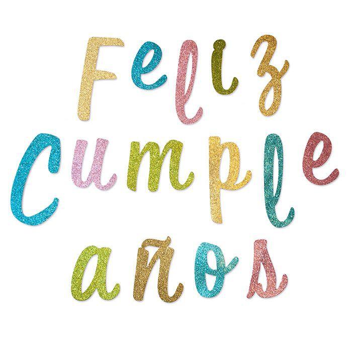 Guirnalda feliz cumpleaños cursiva colores