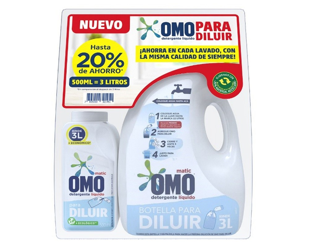 Detergente Líquido Para Diluir 500 Ml + Botella Para Diluir 3 Litros