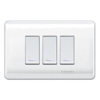 Placa Armada Interruptor Triple 16A 9/12 Génesis Blanco