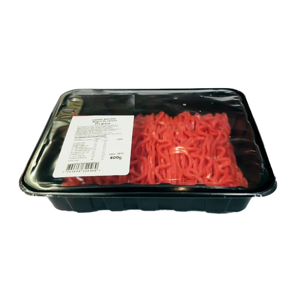 Carne molida magra 3% grasa Bandeja 400 g