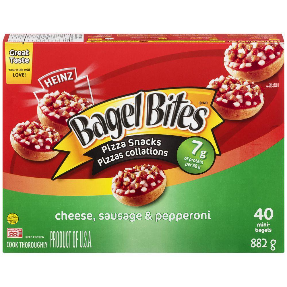 Bagel bites cheese, sausage & pepperoni pizza snacks