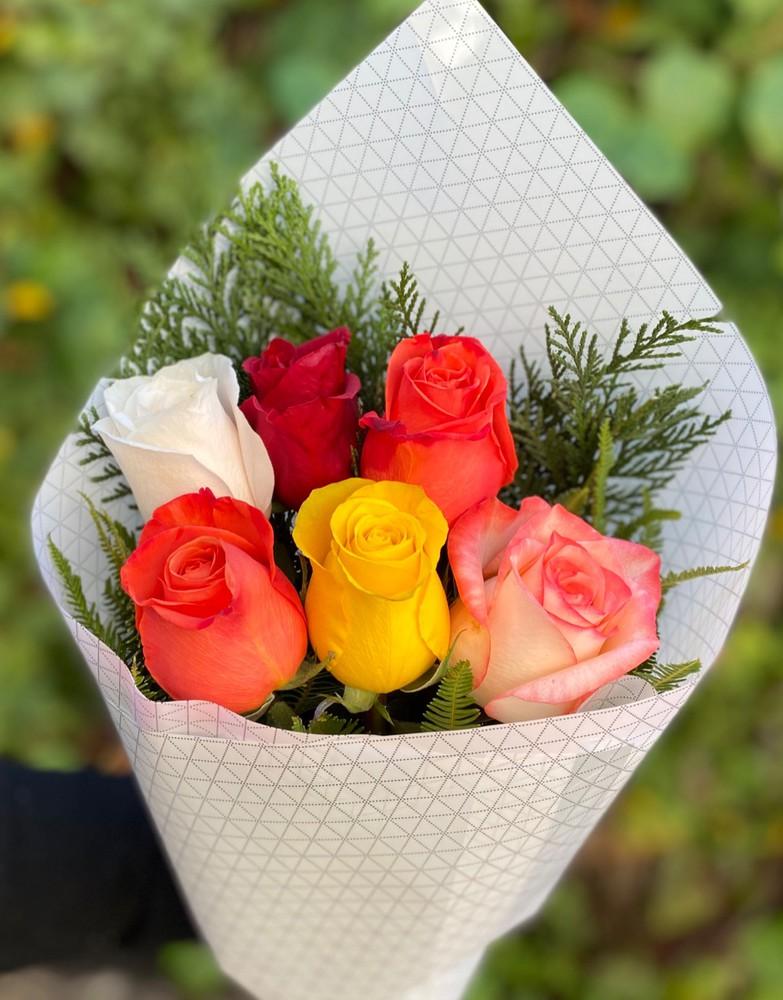 Simple amor surtido 6 rosas envueltas en papel