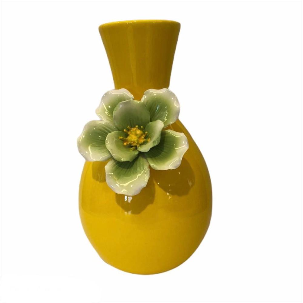 Florero cerámica amarillo m