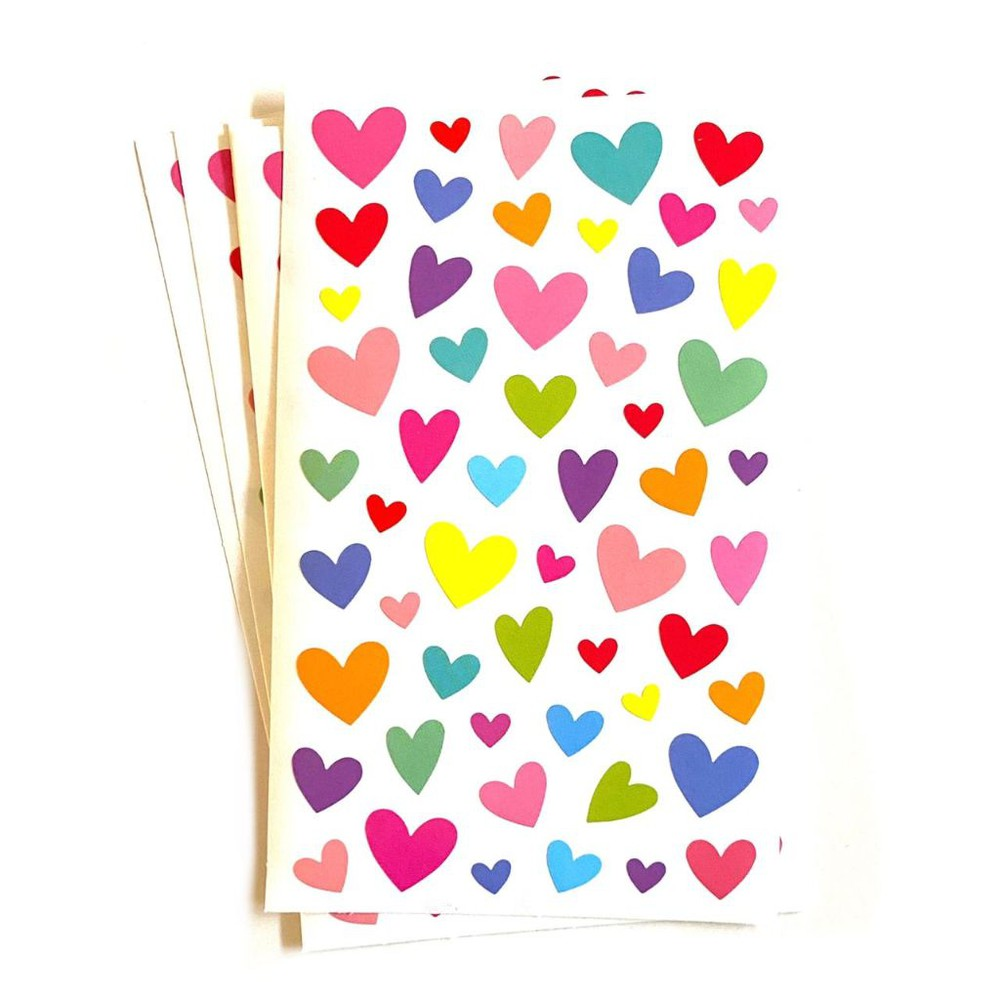 Stickers corazones 9 hojas 9,5 x 19 cm