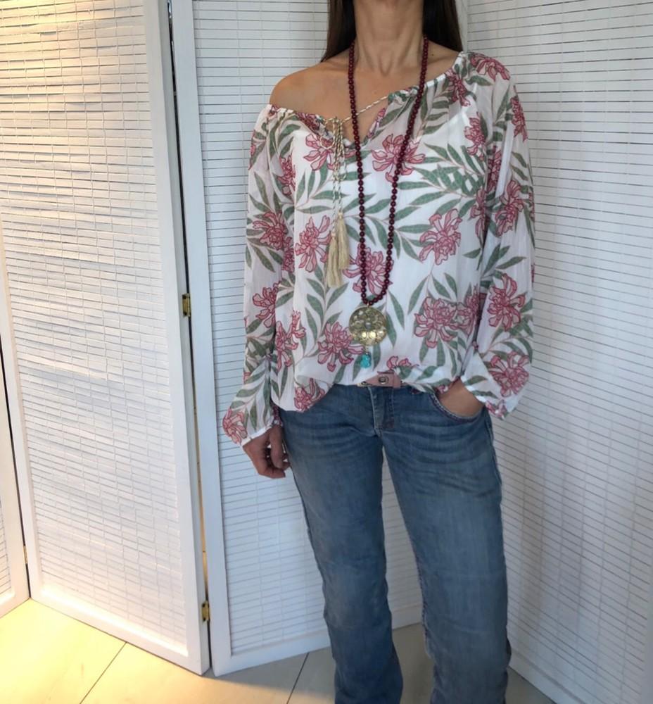Blusa gasa flores rosa TALLA UNICA S/M/L