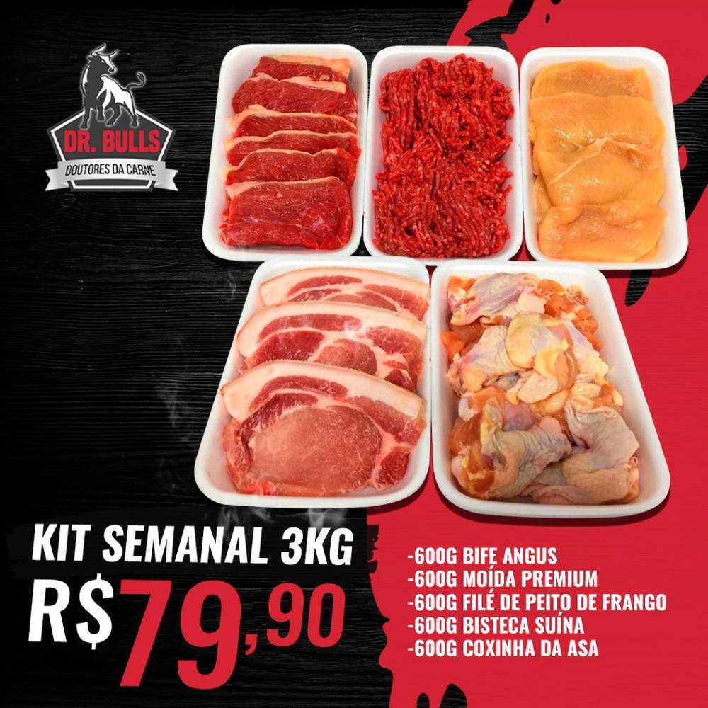 Kit semanal 3kg Embalagem de 600g que totalizam 3kg de carne em média.