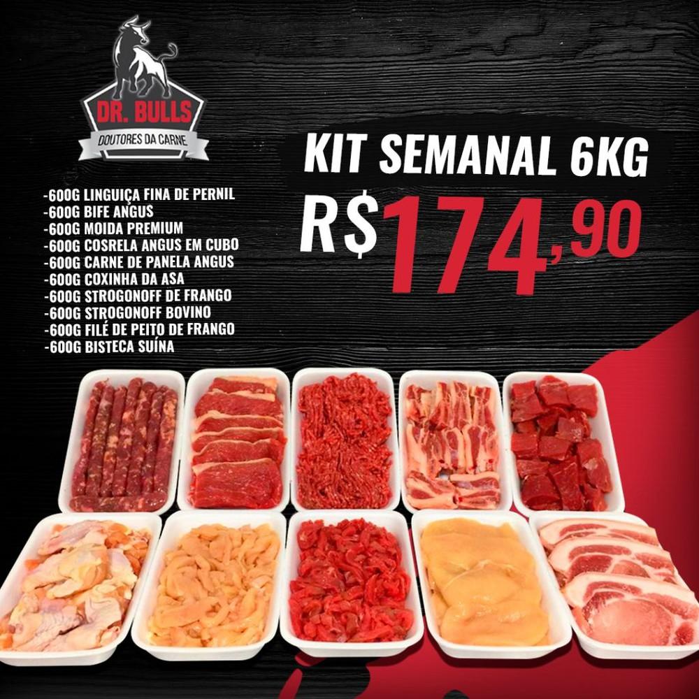 Kit semanal 6kg Embalagem com 600g cada, totalizando 6kg.