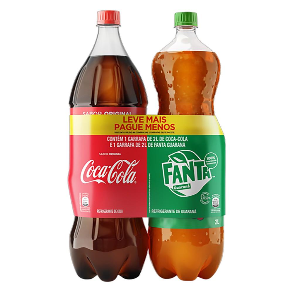 Pack de refrigerantes de cola e guaraná 2x2l